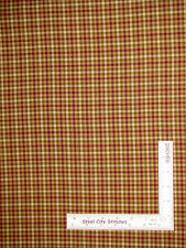 Homespun Check Plaid Berry Green Gold-Beige Cotton Fabric QH05 Primitive - Yard