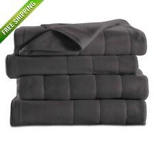 Sunbeam Heated Blanket Twin Size Electric Fleece Warming Winter Bedding Gray