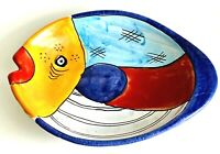 """Italian Hand Painted Fish Plate Bowl 10"""" Majolica Stamped & Numbered"""