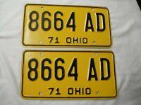 Pair 1971 Ohio License Plate Tag