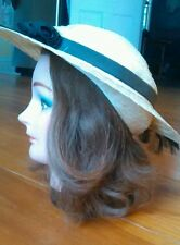 Vintage Ladies Straw Hat Wide Brim Black Ribbon Sound of Music Style