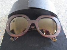 Prada brown tortoiseshell / wood frame sunglasses. SPR 27R UBT-402. With case.