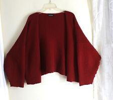 "Eskandar O/S Plush GARNET Red Ripple 100% Cashmere 22"" Long Cardigan Sweater"