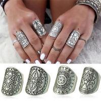 4 Teile / satz Boho Vintage Carving Tibetischen Silber Knuckle Ring Fingerrin_HO