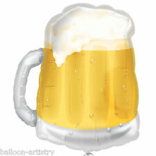 """23"""" Summer Beer Mug Pint Glass Birthday Party Clear Foil Supershape Balloon"""