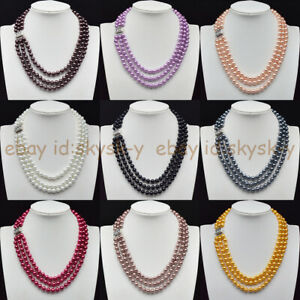 3 Rows 8mm Multi-color South Sea Round Shell Pearl Necklace 17-19'' (32 Colors )