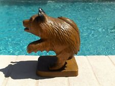 BEAUTIFUL ANTIQUE HAND CARVED WOODEN SCULPTURE BEAR WITH SALMON FISH ON THE BACK