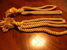 Set of 2 Gold Satin Drapery Tie Backs for Drapes