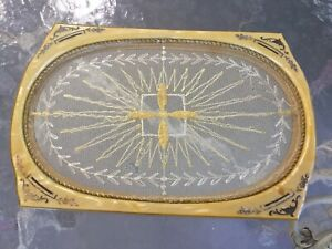 Antique Vintage Art Deco Celluloid Vanity~Dresser Tray with Needlework Lace