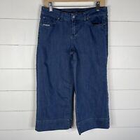 Prana Womens Blue Denim Size 6 Zipper Fly 5 Pocket Goucho Cropped Jeans