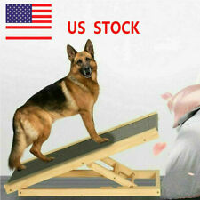 Freestanding Dog Ramp Pet Puppy Ramp Adjustable Heights Non-Slip Carpet Stair Us