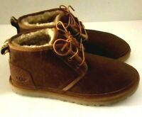 NEW MENS UGG NEUMEL LEATHER CHUKKA BOOTS WOOL LINED CHESTNUT SIZE 10, 11