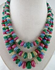 ESTATE RARE 1173CTS NATURAL EMERALD RUBIES SAPPHIRE MELON CARVED BEADS NECKLACE