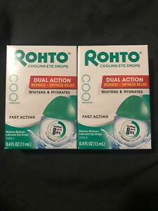 Lot Of 2 Rohto Lubricant Eye Drops Redness Relief Cooling 0.4oz Each