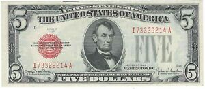 Nice Crisp AU Series 1928 F $5 Red Seal United States Note