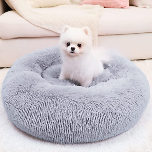 Calming Dog Bed Small Comfy Self Warming Round Fluffy Faux Fur Anti Anxiety Cozy