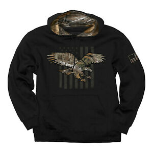 Camouflage Eagle American Flag Stars Stripes Hunting USA Pullover Hoodie 1607