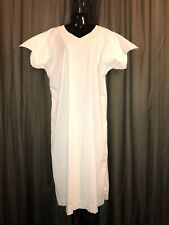 "Original Antique Crochet Edge Edwardian Night Gown Dress White Cotton 52"" Chest"