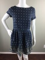 Madewell Womens Dress Silk Blend Nomad Paisley Pleated Short Sleeve Size 0