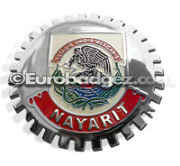 1- NEW Chrome Front Grill Badge Mexican Flag Spanish MEXICO MEDALLION NAYARIT