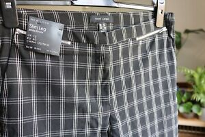 New Look black check slim stretch trousers size 12