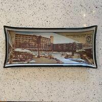 Vintage Fontainebleau Motor Hotel New Orleans LA Advert Black Glass Dish Tray