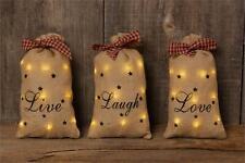 3 new LIVE LAUGH LOVE burlap LED decor Sacks / Nice