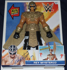 REY MYSTERIO SIGNED AUTO'D ACTION FIGURE BAS COA WWE ECW WCW AAA LUCHA MASK B