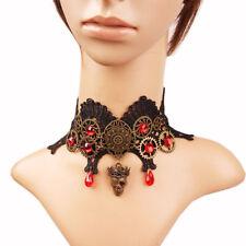 Choker Steampunk Gear Skull Necklace Women's Vintage Victorian Lace Necklace