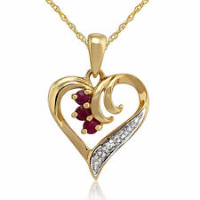 9ct Yellow Gold 0.13ct Ruby & Diamond Heart Pendant on 45cm Chain