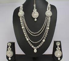 Silver Tone wedding Indian Fashion jewelry Necklace Earring Tikka set Women new