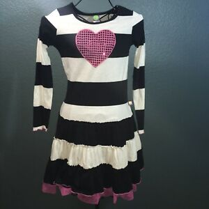 Dollie & Me, Girl's Striped Long Sleeve Dress w Heart, Black and White, 12