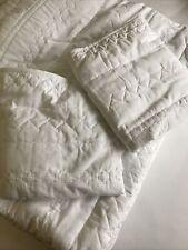 LAUREN CONRAD King Quilt Set 3 Piece Solid WHITE Comforter & 2 Shams EUC!!!