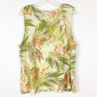 J Jill Love Linen Palm Floral Tank Top Sleeveless White Green XL Tall XLT