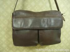 Rugged!! Small to Medium Sized ROLFS Dark BROWN Leather Shoulder Satchel Handbag