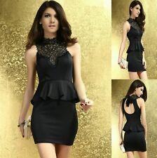 Black W Lace Peplum Sleeveless Dance Party Cocktail Dress Ladies Sz S 8 10