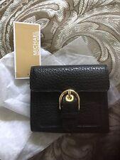 NWT Michael Kors Black Grain Leather Cooper Medium Carryall Trifold Lady Wallet