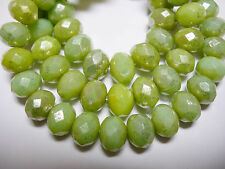 25 beads - 8x6mm Honeydew Green with Silver Wash Czech Rondelle beads