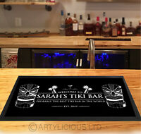 Personalised Tiki Bar Runner MAT - Black & White Bar mat - *ANY NAME*
