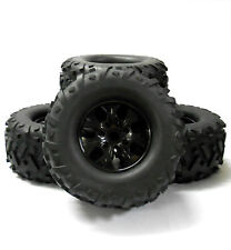 810026 1/8 Scale off Road RC Monster Truck 7 Spoke Wheel and Tyres X 4 Black