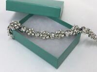 """Vtg Lisner Crystal Rhinestone Floral Bracelet Formal Evening Silver Tone 7""""x1/2"""""""