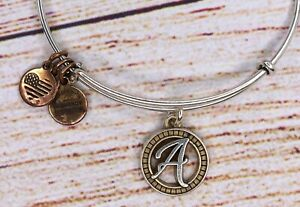 Alex and Ani Letter Initial A Charm Bangle Silver Gold Tow Tone Bracelet