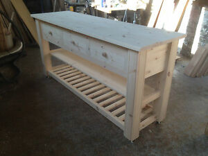 HANDMADE SOLID PINE KITCHEN ISLAND/TROLLEY