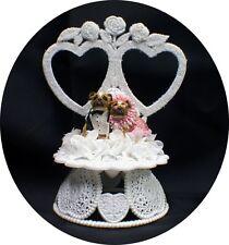 PINK ZELDA WISDOM BULL Dog PUG Wedding Cake Topper 2 hearts Groom top