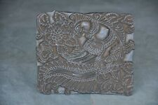 Old Wooden Handcrafted Peacock & Flowers Engraved Textile Printing Block