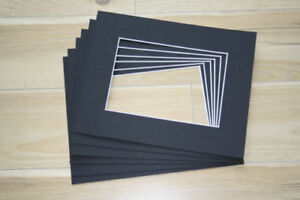 """10 x Professional Picture Framing Mat Boards 8"""" x 10"""" with 6"""" x 8"""" Window"""