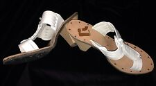 New Report Putty White Toe Strap Leather Wood Heel Sz 10