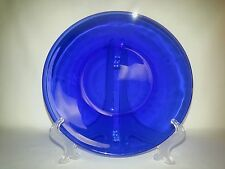 2 Plates Cobalt Blue Glass Dinner 10in Heavy Glassware Vintage Gorgeous