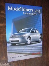 Toyota Modellübersicht 1999 Schweiz (PKW, 4x4, Nutzfahrzeuge), Prospekt/Brochure