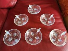6 Coupes D'AVESN FRANCE , Motif noisette Art Déco 11 cm , verre opalescent